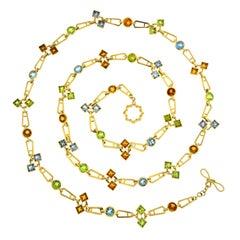 Valentin Magro Geometric Color Stone Chain Necklace