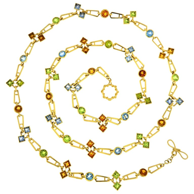 Valentin Magro Geometric Color Stone Chain Necklace For Sale