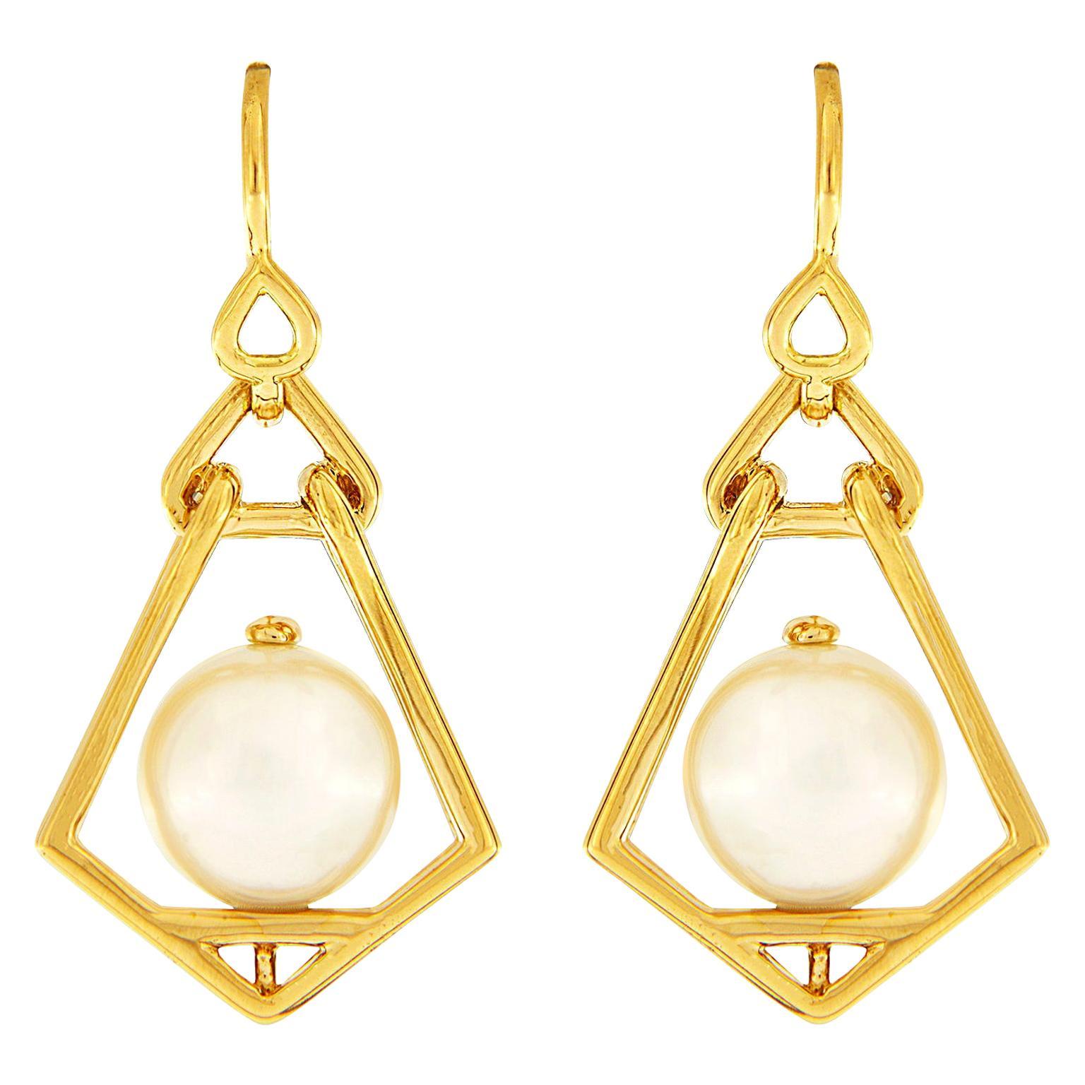 Valentin Magro Geometric Lantern Large Pearl Earrings