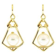 Valentin Magro Geometric Pearl Lantern Small Earrings