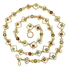Valentin Magro Geometric Square Necklace with Peridot Blue Topaz and Citrine