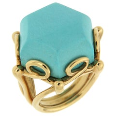 Valentin Magro Geometrical Hexagon Turquoise Solitaire Ring