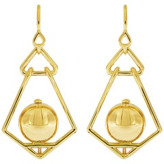 Valentin Magro Gold Ball Geometric Lantern Large Earrings