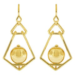 Valentin Magro Gold Ball Geometric Lantern Large Earrings