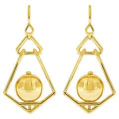 Valentin Magro Gold Ball Geometric Lantern Small Earrings