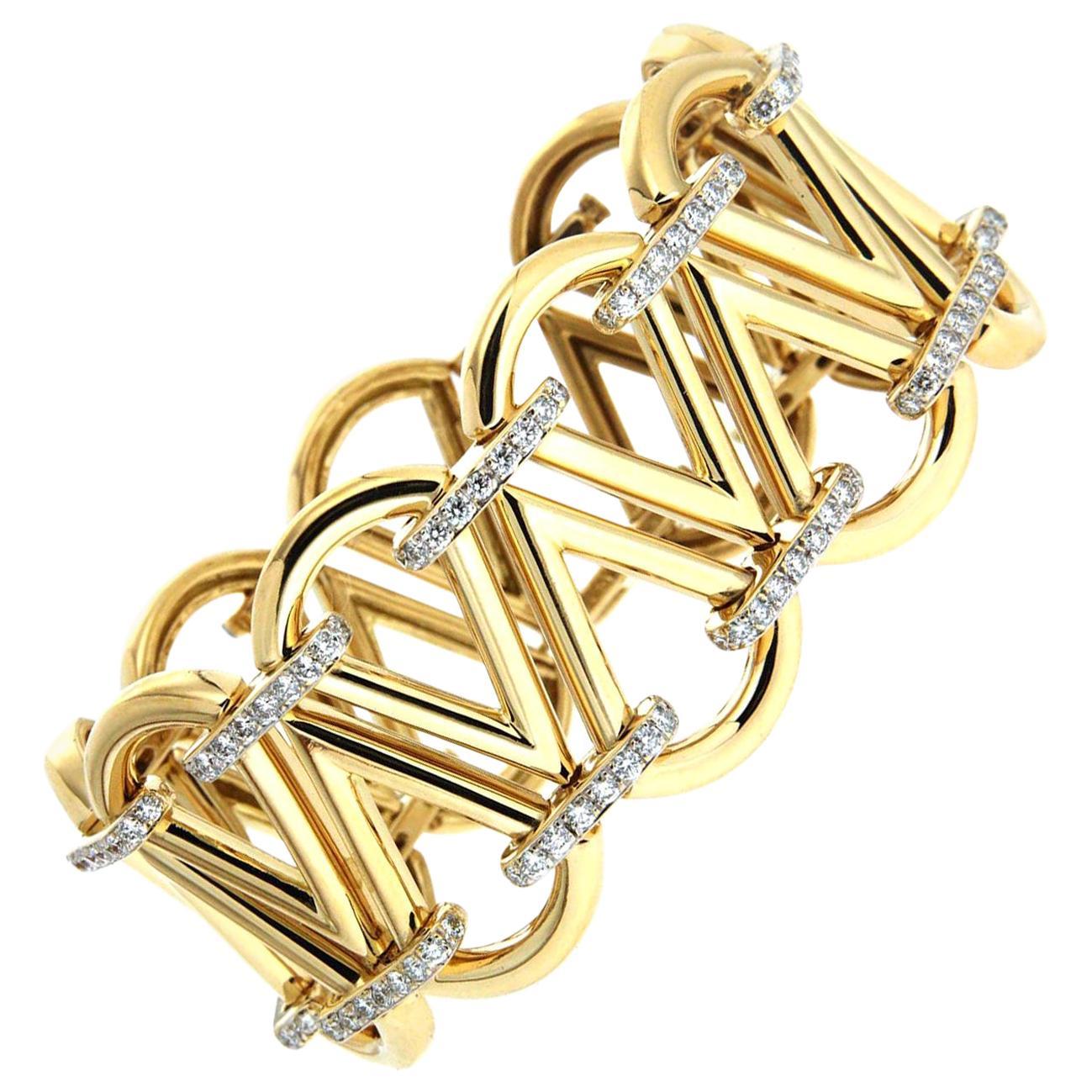 Valentin Magro Gold Cone Diamond Link Bracelet