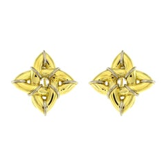 Valentin Magro Gold Gothic Earrings with Platinum Wires 'Small'