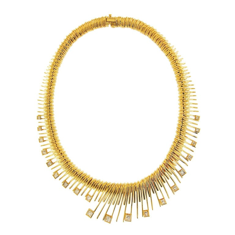Valentin Magro Gold Spiral Necklace With Princess Cut Diamonds