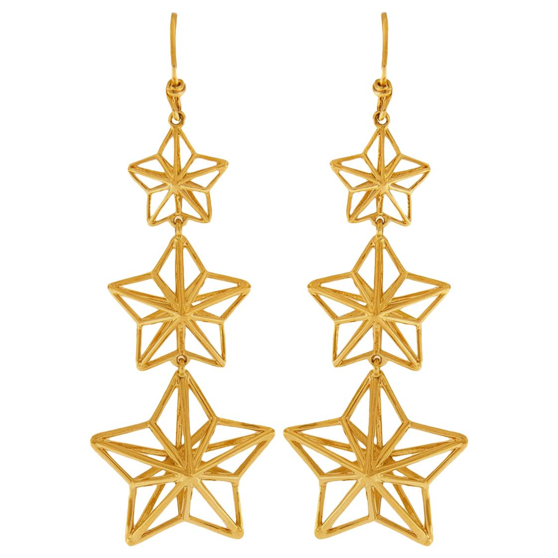 Valentin Magro Gold Star Dangle Earrings with French Wire