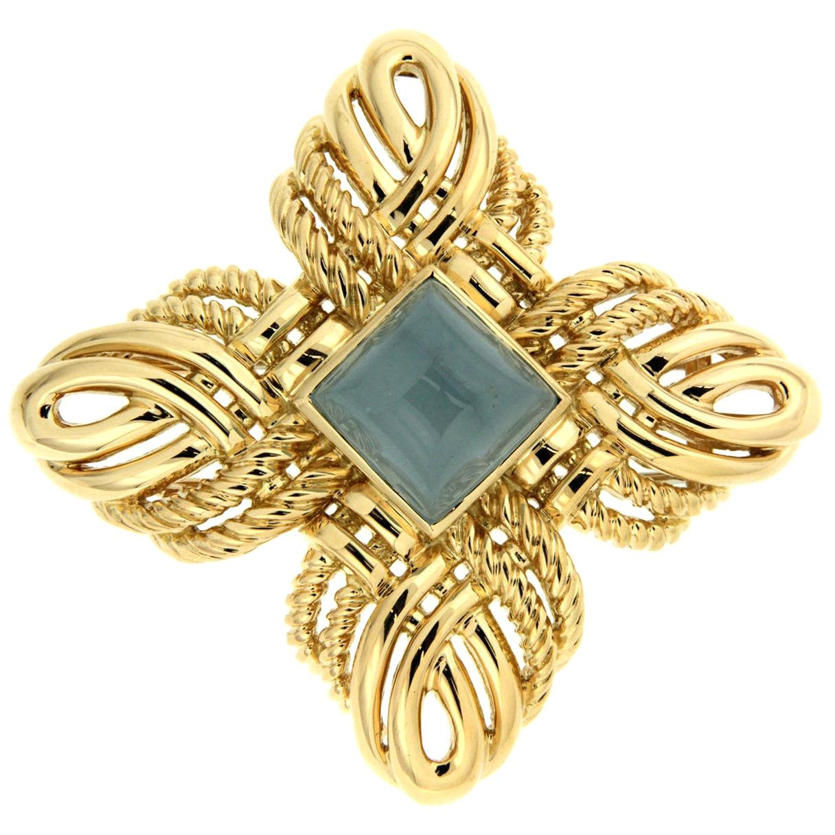 Valentin Magro Gold Woven Twisted Wire Aquamarine Brooch