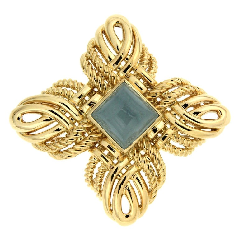 9266e45f1 Valentin Magro Gold Woven Twisted Wire Aquamarine Brooch For Sale at ...