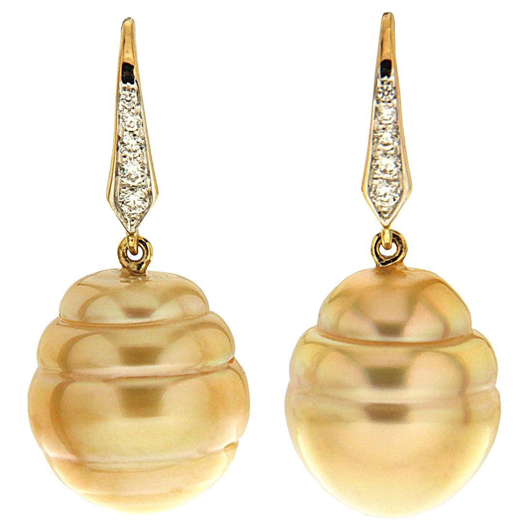 Valentin Magro Golden Baroque Circled Pearl Diamond Drop Earrings