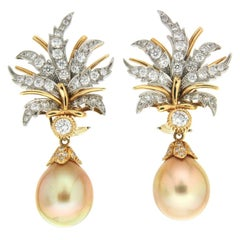 Valentin Magro Golden Pearl Drops with Flower Petal Earrings