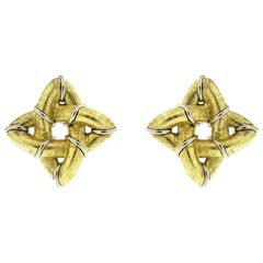 Valentin Magro 18 Karat Yellow Gold Textured Gothic Earrings