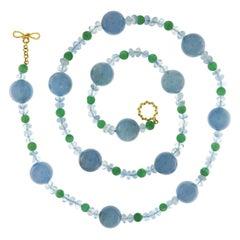Valentin Magro Green Aventurine Aquamarine Gold Bead and Rondelle Necklace