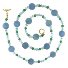 Valentin Magro Green Aventurine Aquamarine Gold Bead and Rondelle Necklace