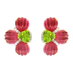 Valentin Magro Hand Carved Rubellite and Trillian Peridot Earrings