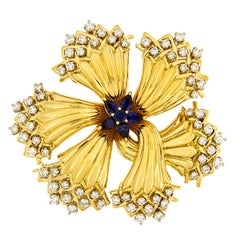 Valentin Magro Harvest Time Sapphire Diamond Gold Brooch