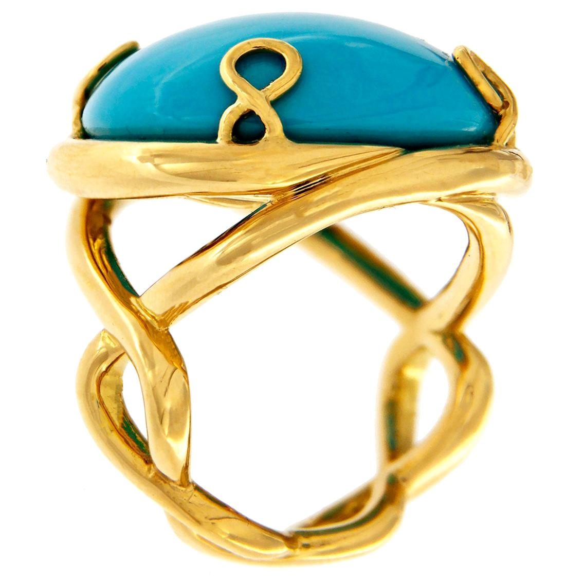 Valentin Magro Helix Round Turquoise Gold Ring