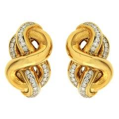 Valentin Magro Hercules Knot Diamond Yellow Gold Earrings