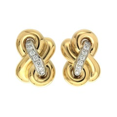 Valentin Magro Hercules Knot Diamond Yellow Gold and Platinum Earrings
