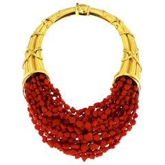 Valentin Magro Horn of Plenty Coral Gold Necklace