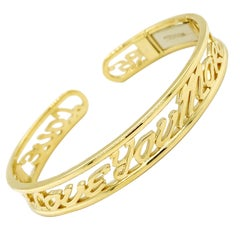 Valentin Magro I Love You More Classic Hinged Diamond Yellow Gold Wide Bracelet