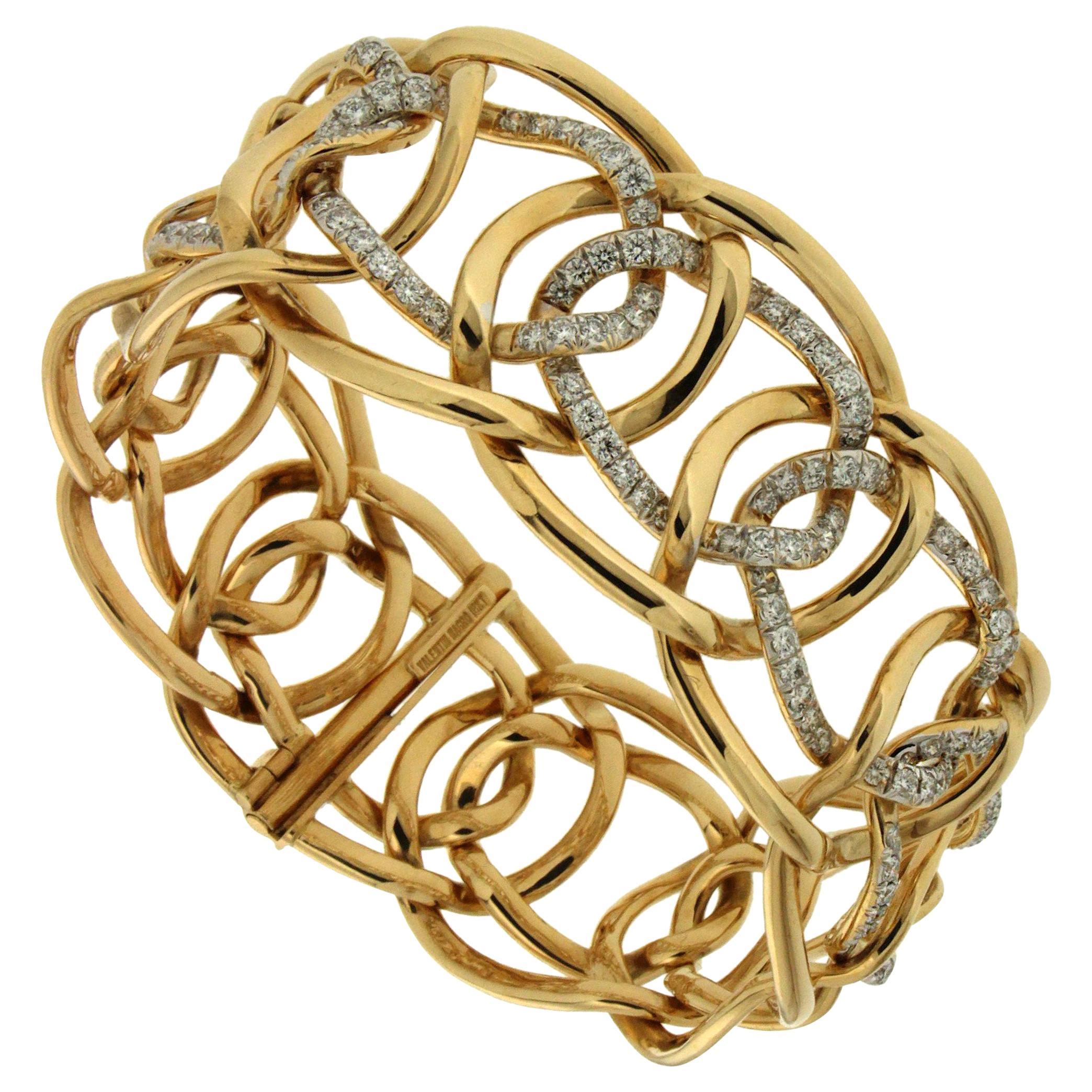Valentin Magro Interlocking Oval Diamond Gold Link Bracelet