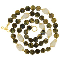 Valentin Magro Labradorite Disk Freshwater Pearl Gold Necklace