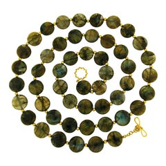 Valentin Magro Labradorite Disk Necklace with Gold Beads