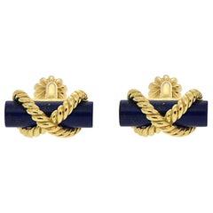 Valentin Magro Lapis Gold Bar Twisted Wire Cufflinks
