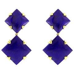 Valentin Magro Lapis Lazuli 18 Karat Yellow Gold Dangling Earrings