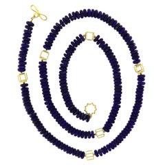Valentin Magro Lapis Lazuli Roundel 18 Karat Yellow Gold Necklace