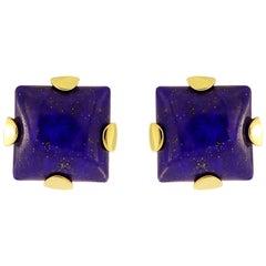 Valentin Magro Lapis Lazuli Square Cabochon Earrings 18 Karat Gold Earrings