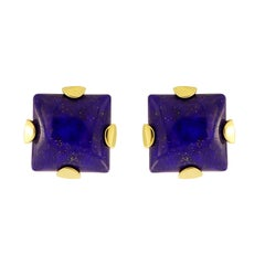 Valentin Magro Lapis Lazuli Square Cabochon Earrings 18 Karat Gold Earrings