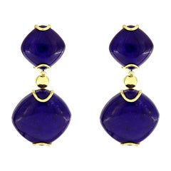 Valentin Magro Lapis Lazuli 18 Karat Yellow Gold Drop Earrings