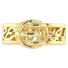 Valentin Magro Large Buckle Ring, I Love Me More, Block, Yellow Gold