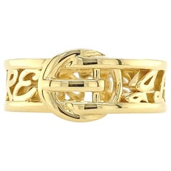 Valentin Magro Large Buckle Ring, I Love You More, Block, in Yellow Gold