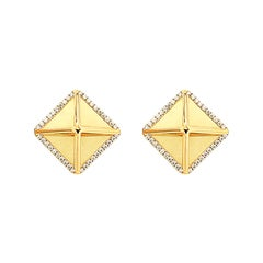 Valentin Magro Large Diamond Gold Pyramid Earrings