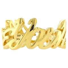 Valentin Magro Large, I Love You More Ring, Block, 18 Karat Yellow Gold