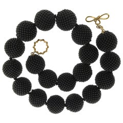 Valentin Magro Large Onyx Woven Ball Necklace