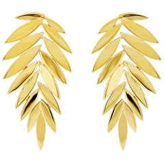Valentin Magro Leaf Earrings in Yellow Gold