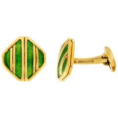 Valentin Magro Light Green Striped Enameled Gold Cufflinks