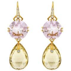 Valentin Magro Light Purple Amethyst and Yellow Quartz Pear Shape Drop Earrings