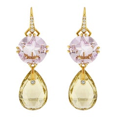 Valentin Magro Light Purple Amethyst and Yellow Quartz Pear Shape Drop Earrings