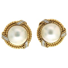 Valentin Magro Mabe Pearl Diamond Yellow Gold Earrings