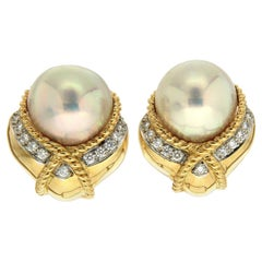 Valentin Magro Mabe Pearl Diamond Yellow Gold Twisted Rope Earrings