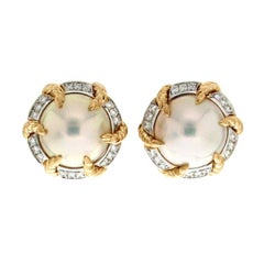 Valentin Magro Mabe Pearl Earrings with Twisted Wire Claws and Diamonds