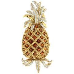 Valentin Magro Madeira Citrine and Diamond Gold Pineapple Brooch