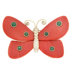 Valentin Magro Mariposas Large Coral Tsavorite Diamond Gold Butterfly Pin